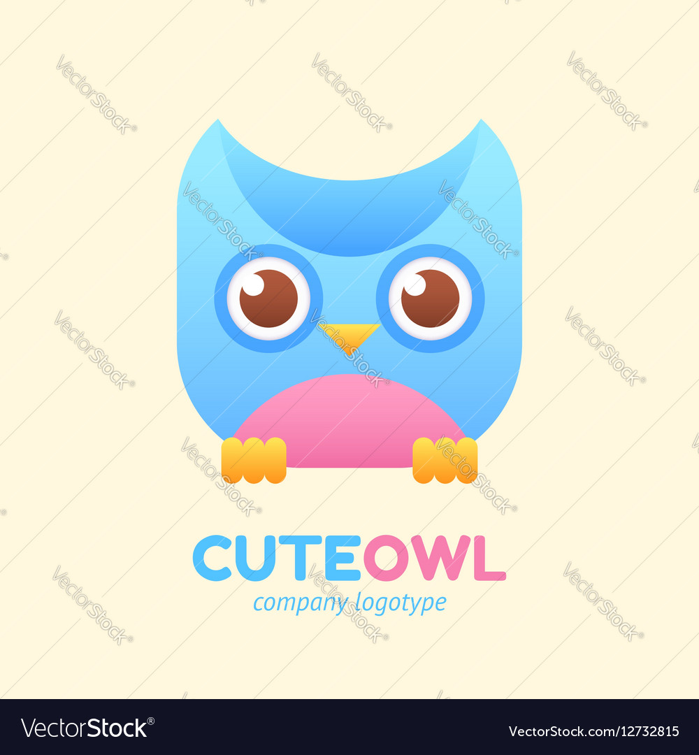 Cute owl logotype for children store company