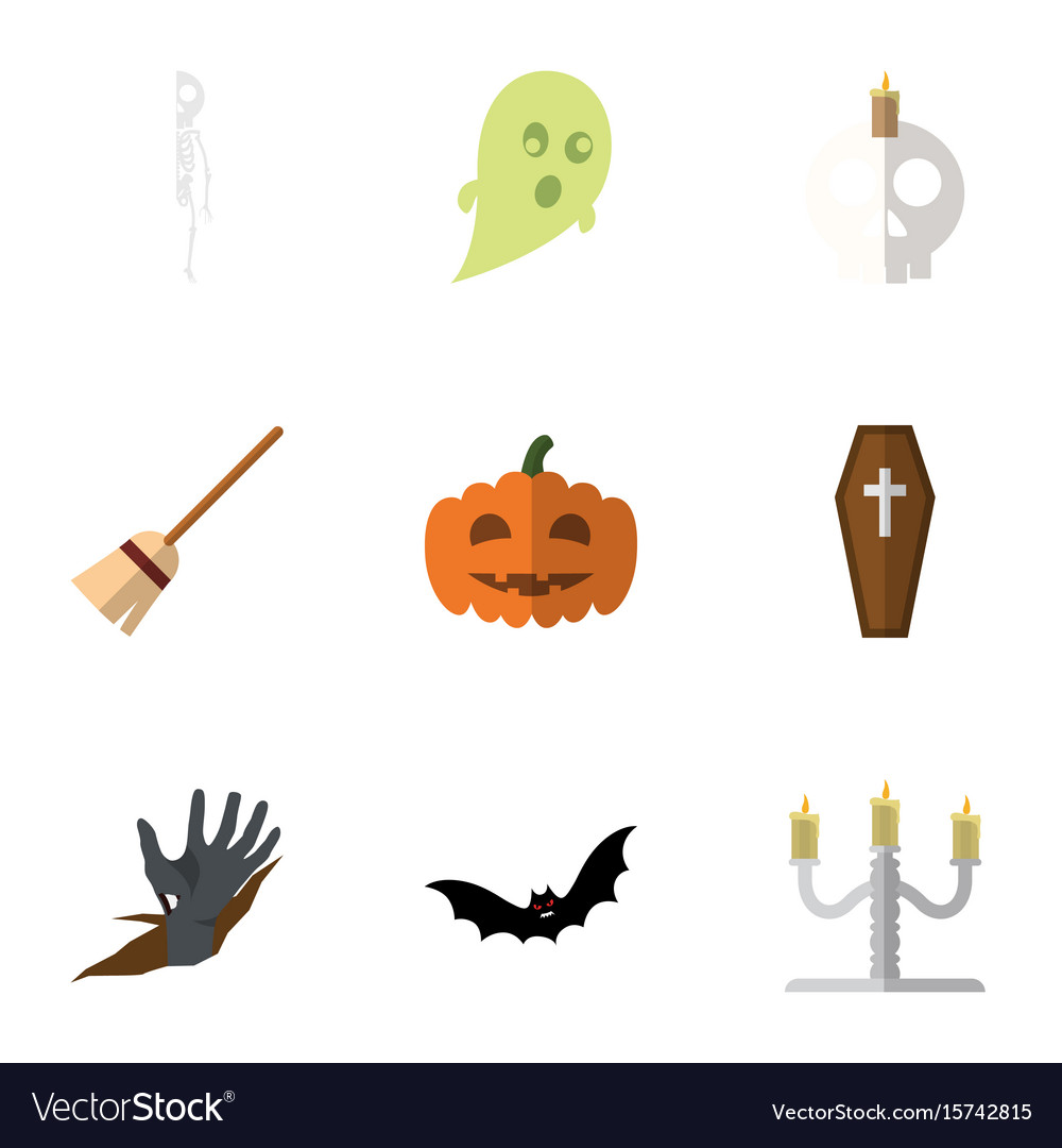 Flat icon celebrate set of zombie broom