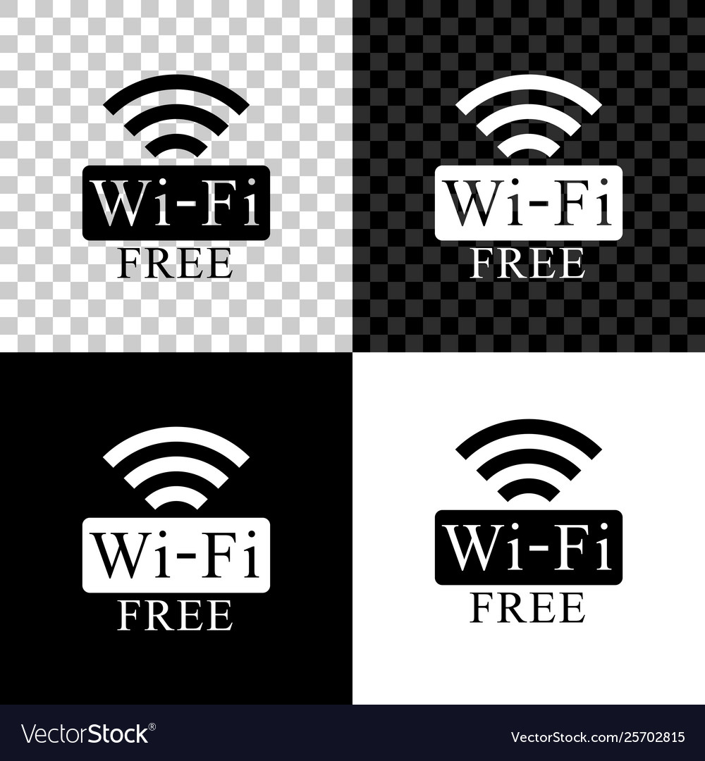 Free wi-fi icon isolated on black white and
