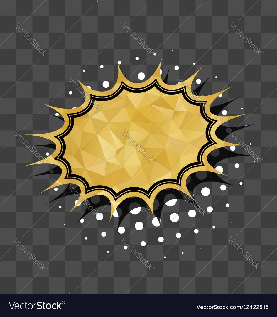 Gold sparkle comic star text bubble vector image