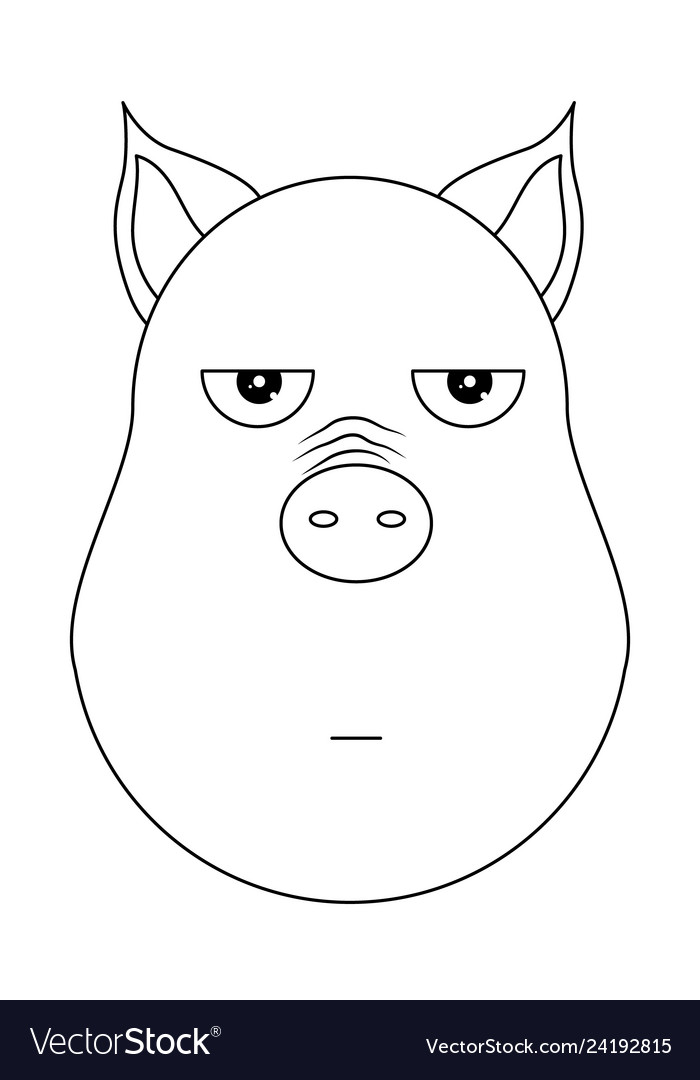 Head of annoyed pig in outline style kawaii