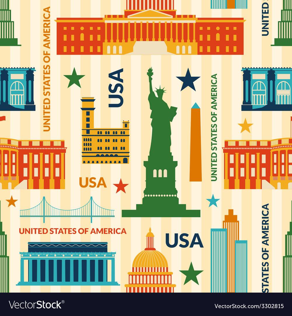 Landmarks of United States of America seamless