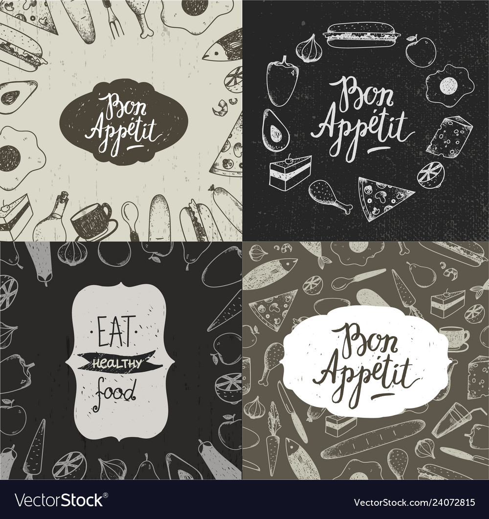 Set food banners posters