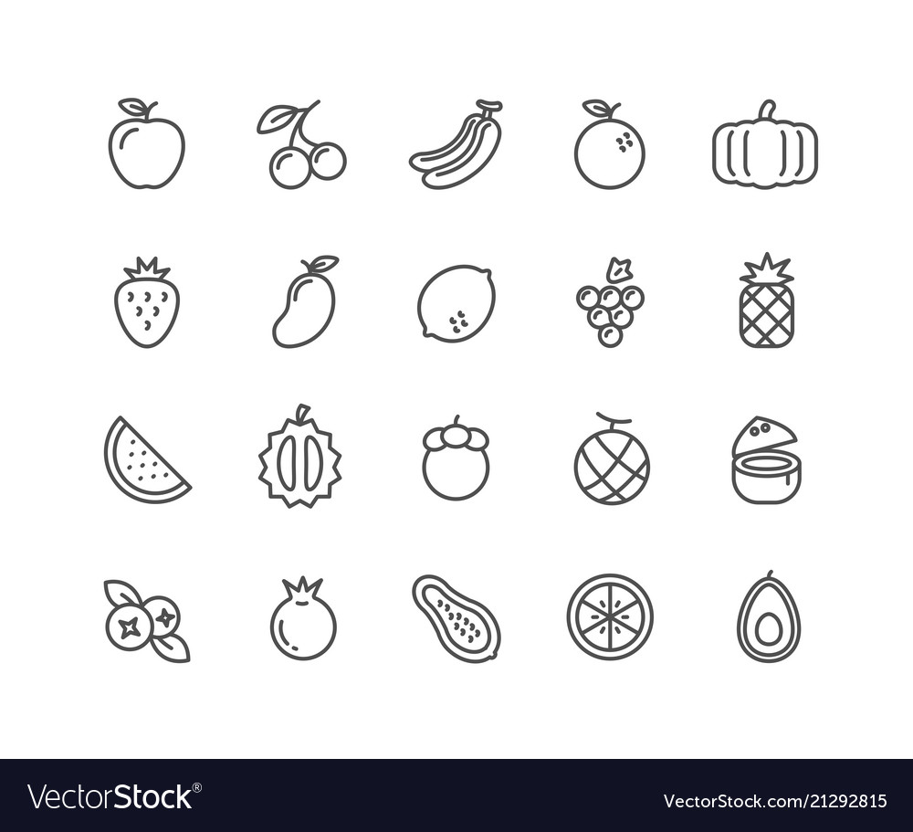 Simple set fruits thin line icons