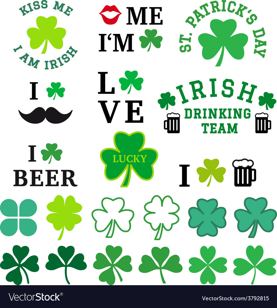 St Patricks day clover set vector image