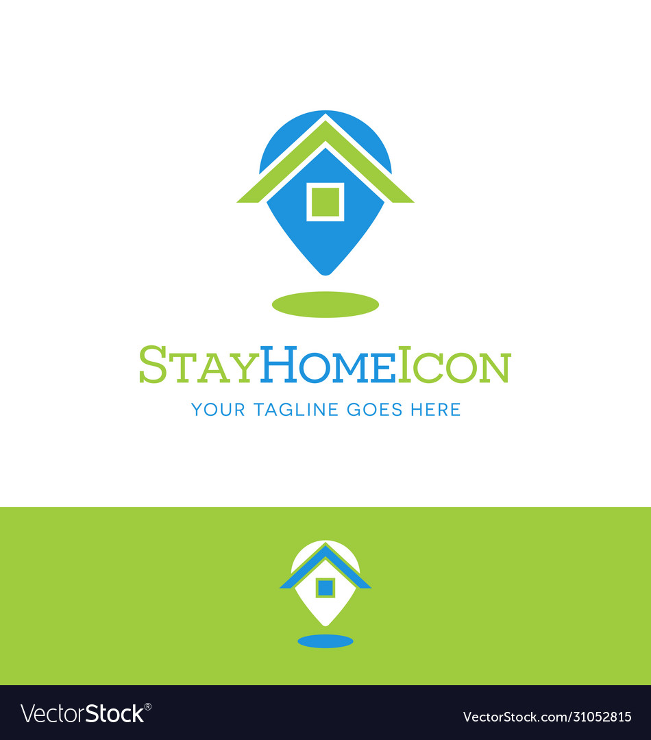 Stay at home icon combining house with map pin