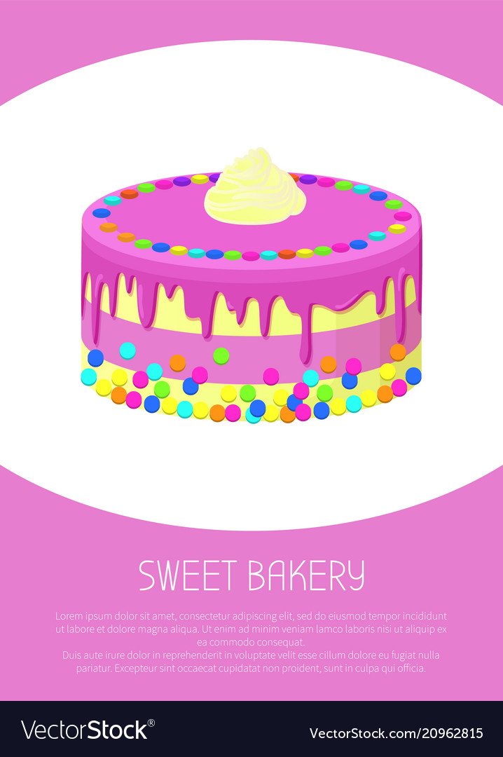 Sweet bakery poster with milk cake covered by jam