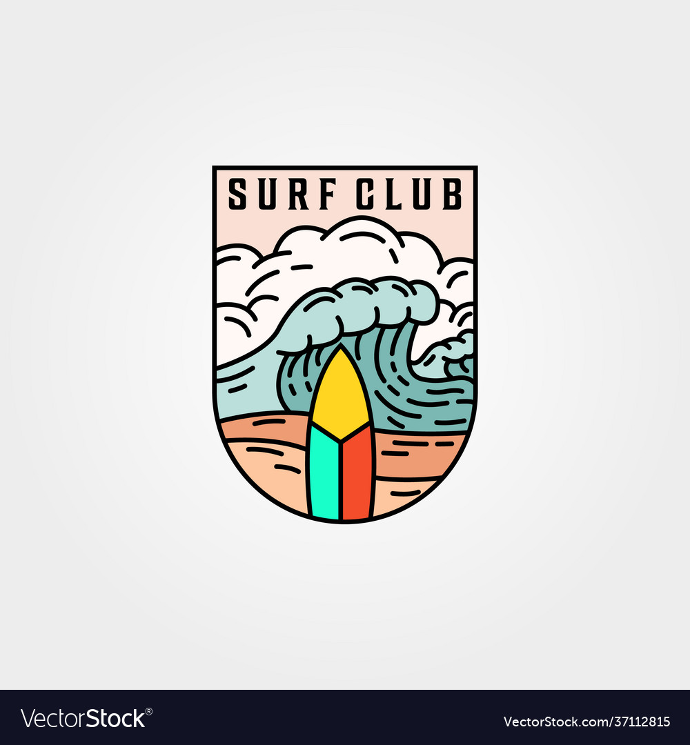 Wave and surf club icon logo template design