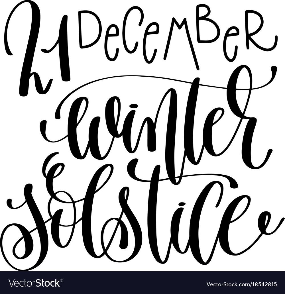 Winter Solstice Hand Lettering Congratulation Vector Image