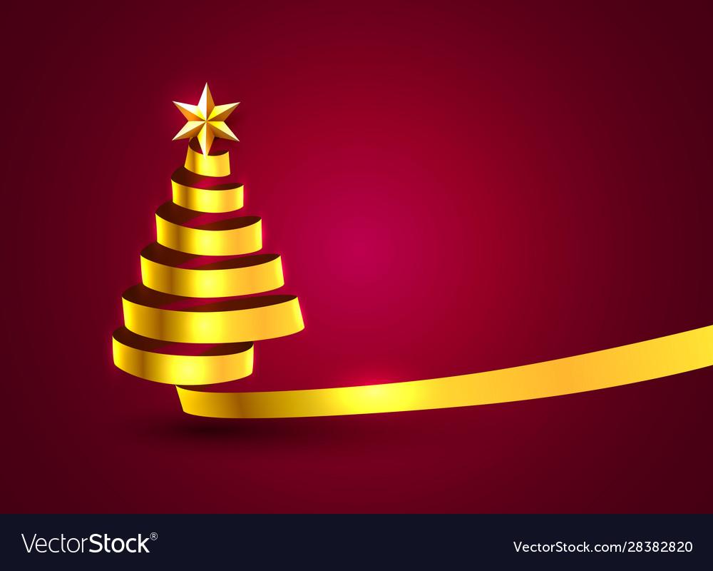 Christmas tree tape golden design banner art