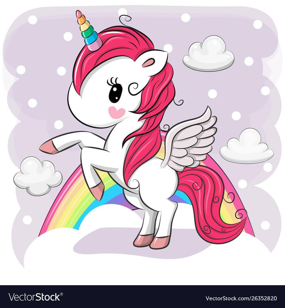 Cute cartoon unicorn on clouds Royalty Free Vector Image