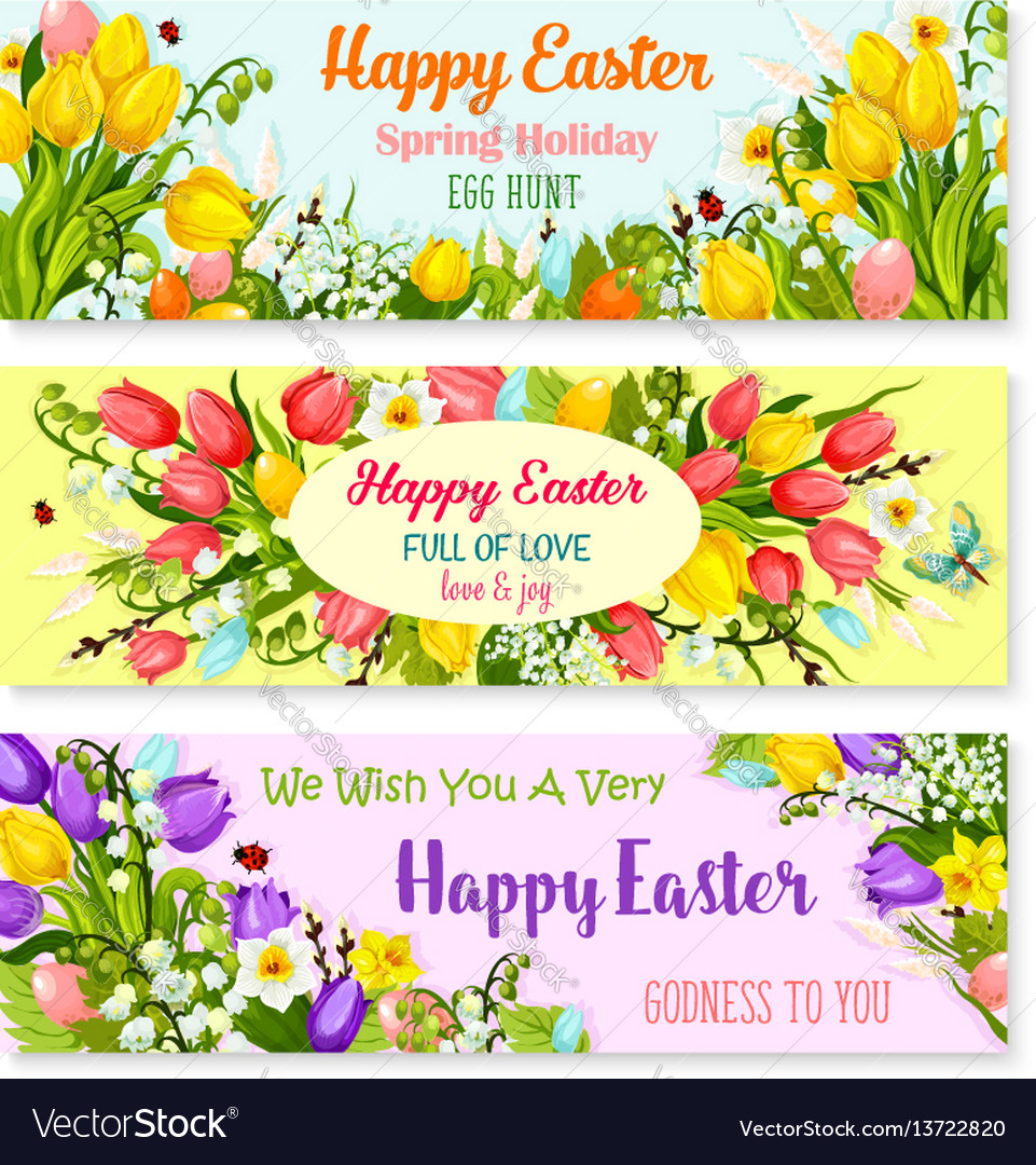 Easter spring holiday greeting banners set