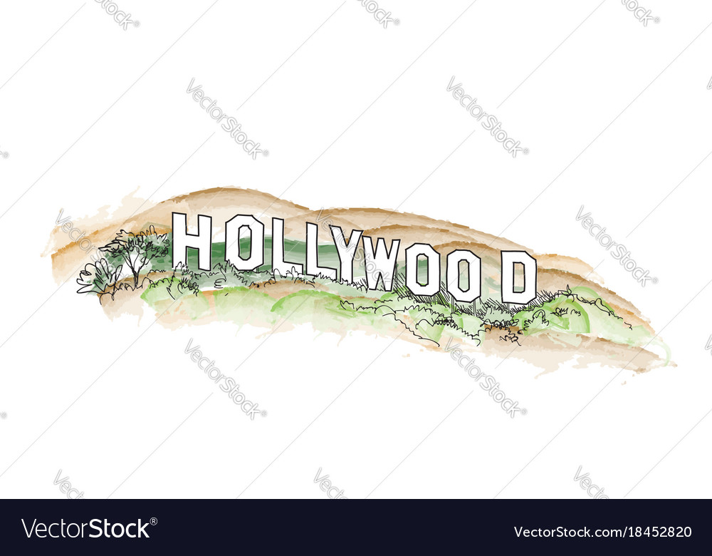 Hollywood Sign Watercolor Hill Vector Image