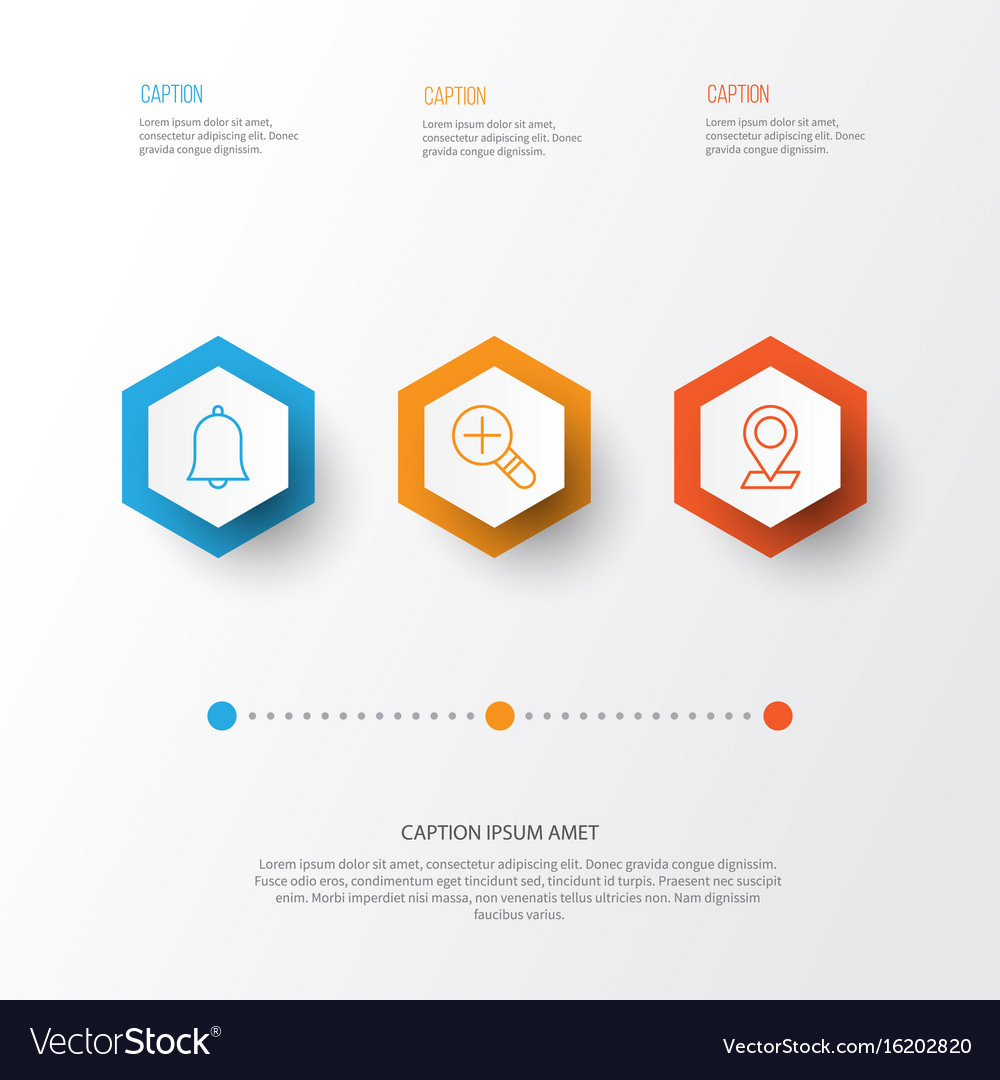 Icons set collection of increase loup bell vector image