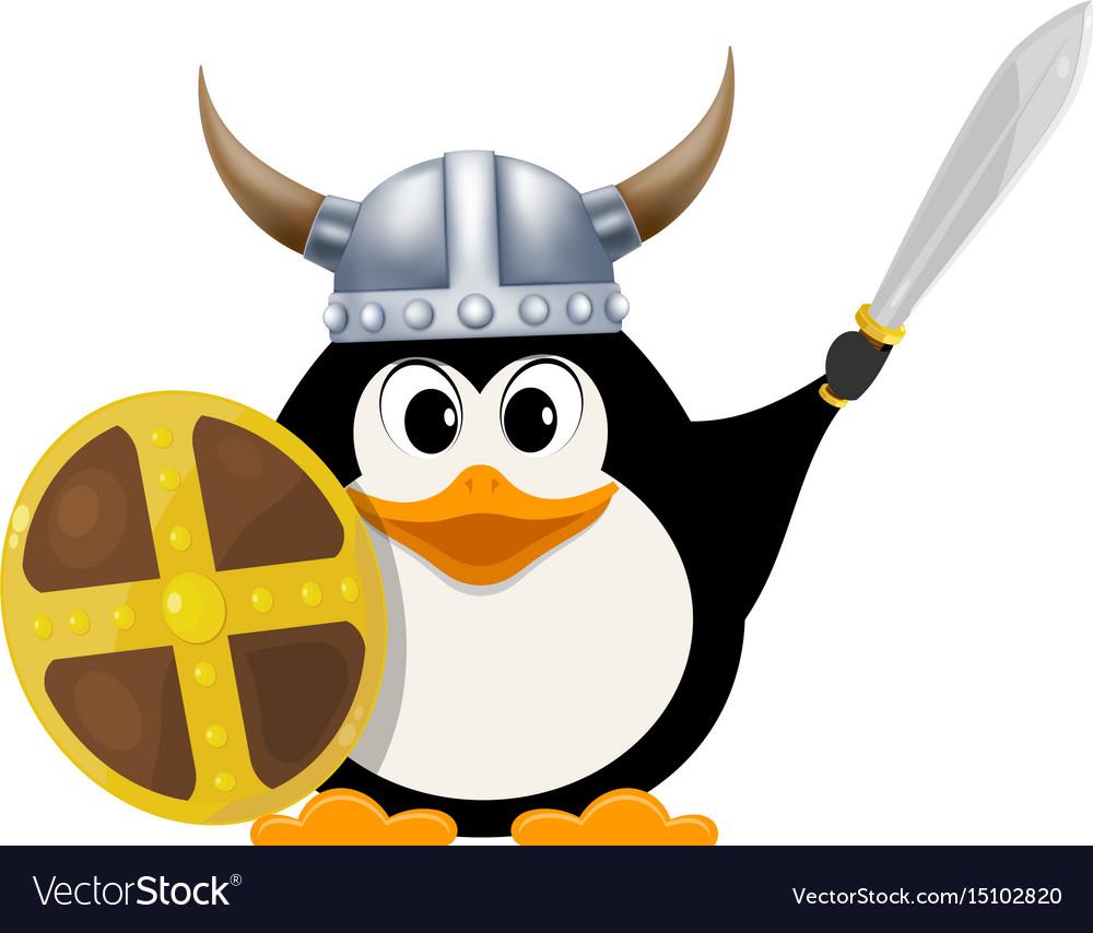 Iittle penguin in a viking costume child penguin