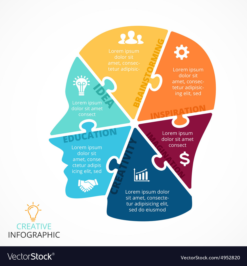 Puzzle human face infographic Cycle Royalty Free Vector