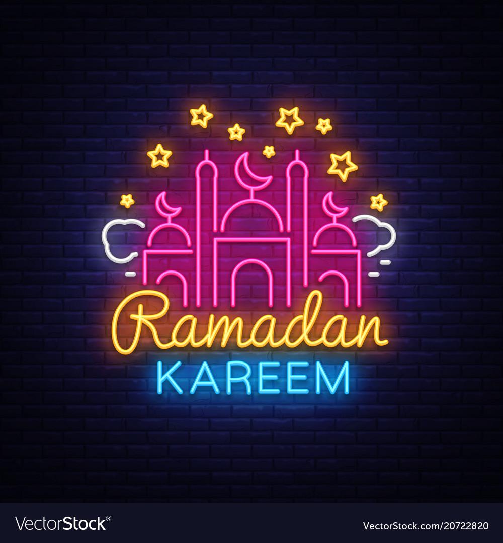 Ramadan Kareem Greeting Cards Neon Sign Design Vector Image