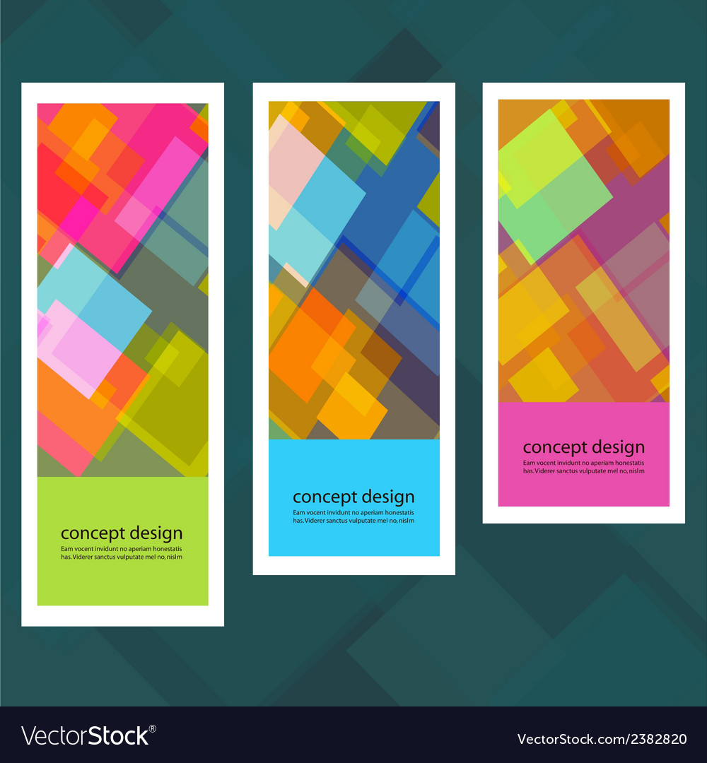 Set of creative stickers with colored squares