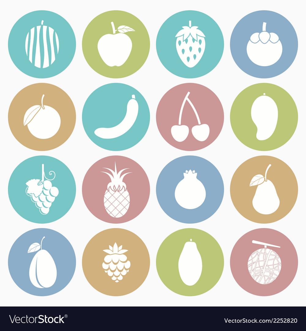 White icons fruit