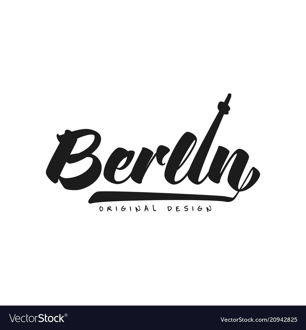 Berlin city name original design black ink hand