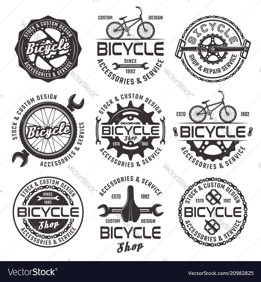 Bicycle shop emblems badges and labels