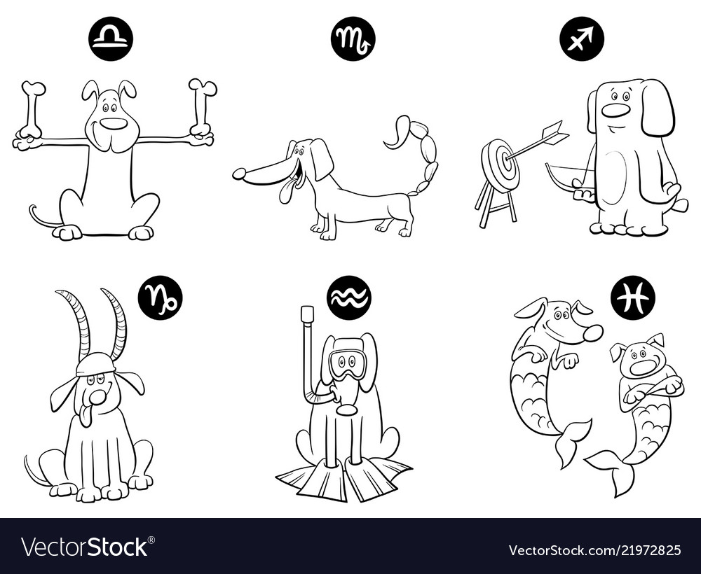 Black and white zodiac signs set with dogs