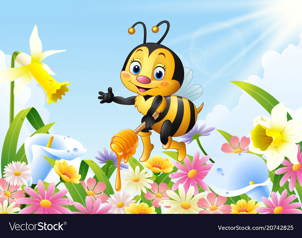 Cartoon bee holding honey dipper with flower