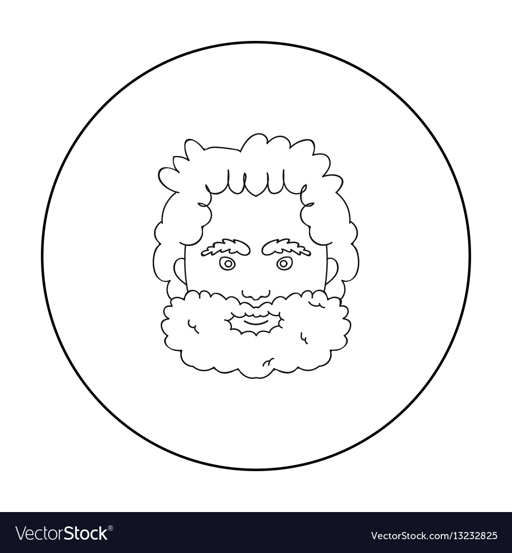 Caveman face icon in outline style isolated on