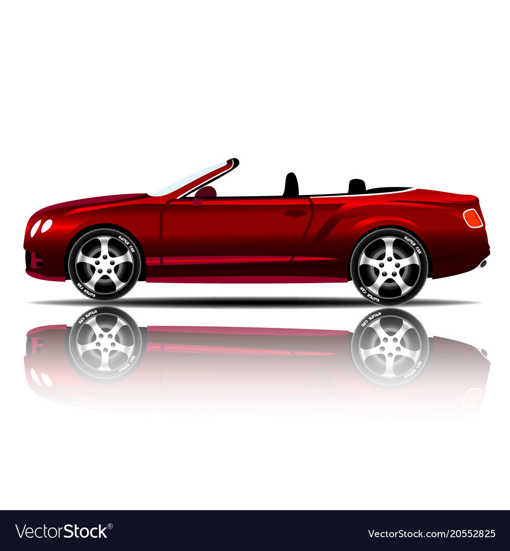 Convertible Sports Car Red Color White Background Vector Image
