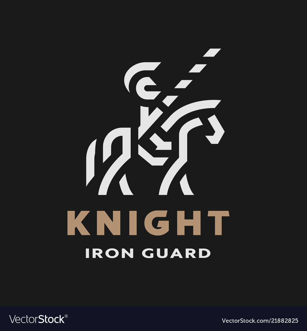 Equestrian knight linear logo symbol on a dark