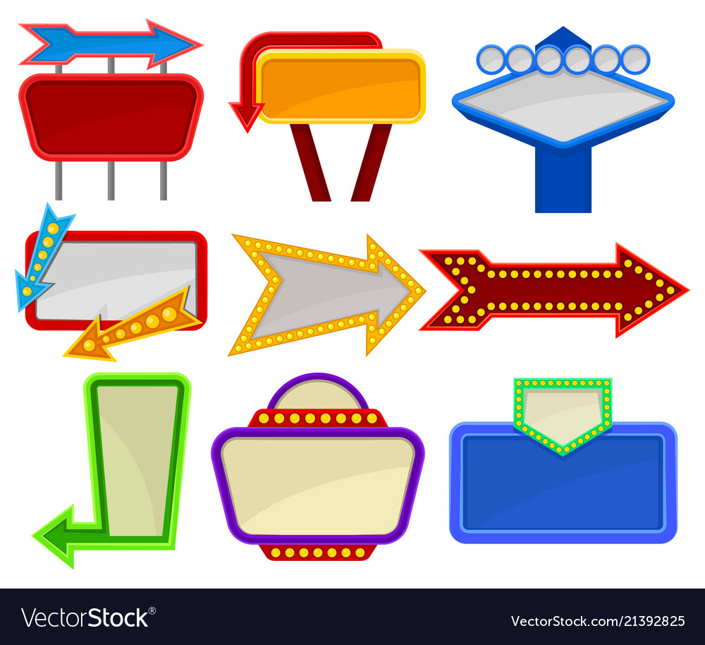 Flat set of various signboards bright