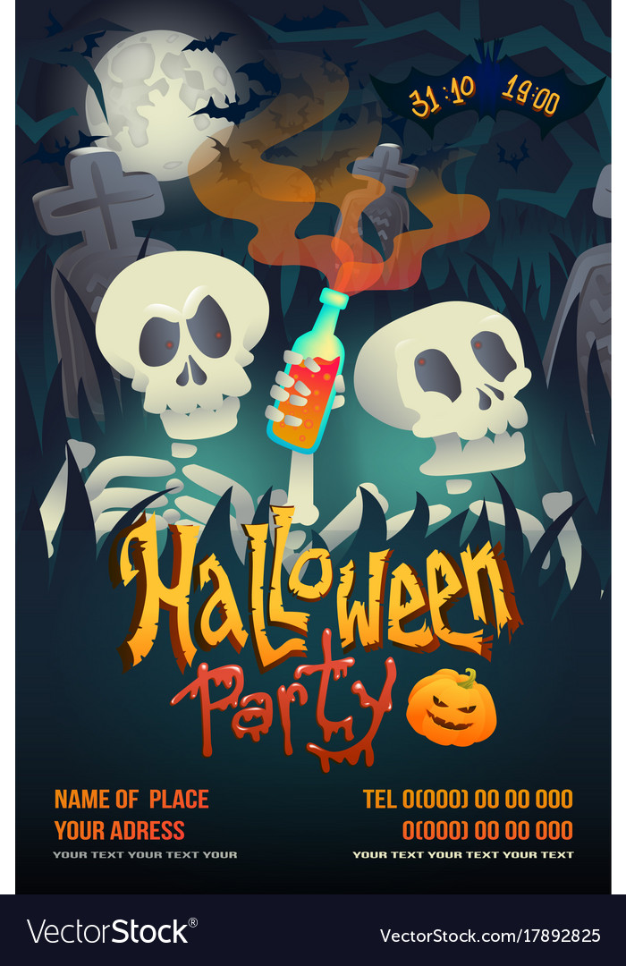 Halloween party flyer with skeleton on dark Vector Image