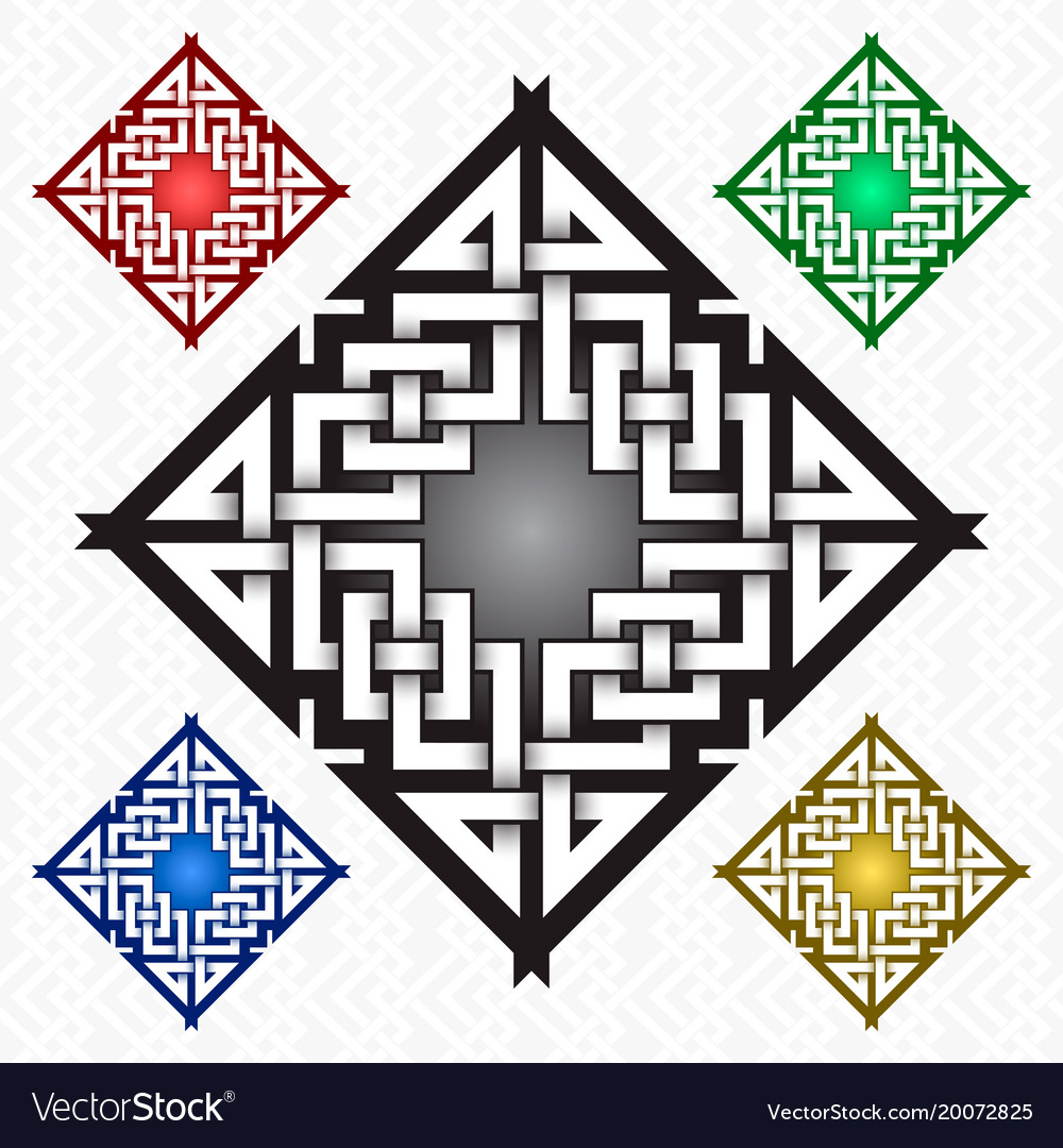 Rhombic cruciform logo template in celtic knots