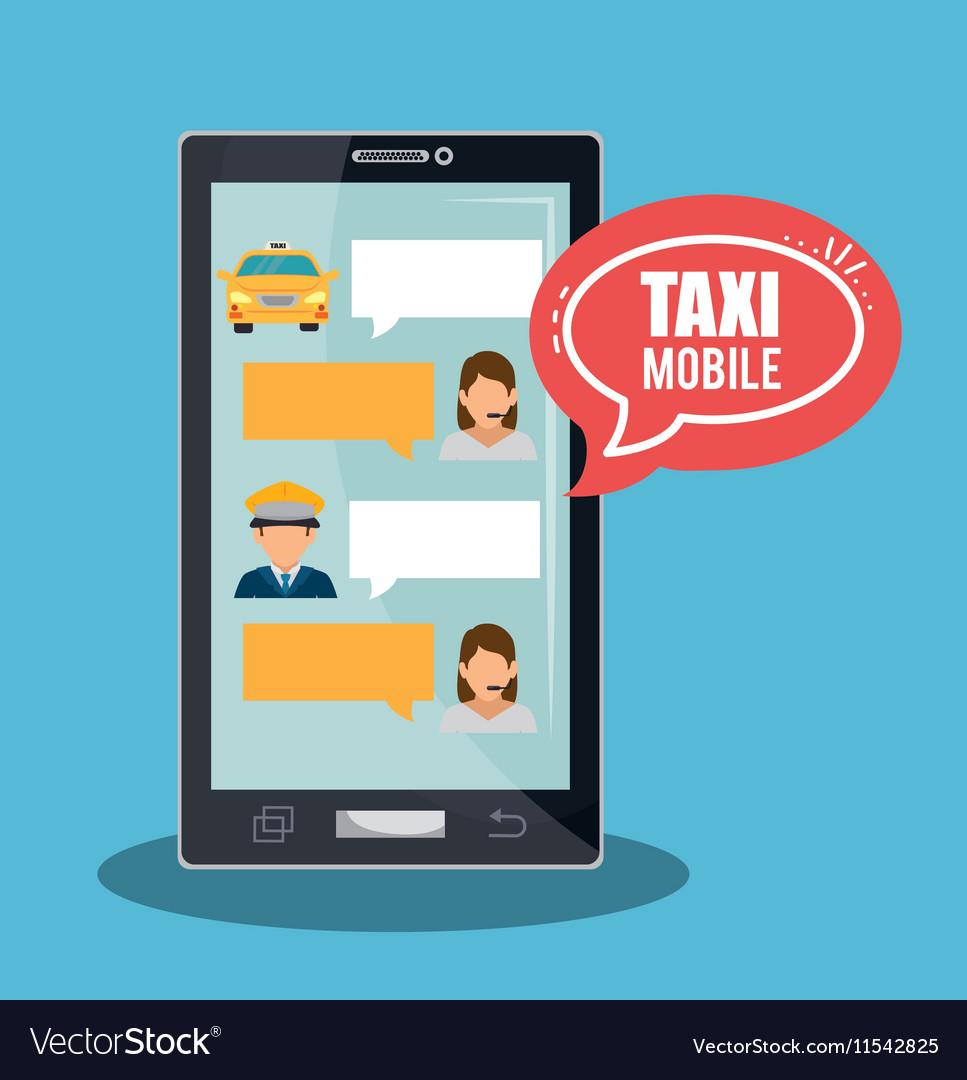 Taxi service call center driver bubble speech