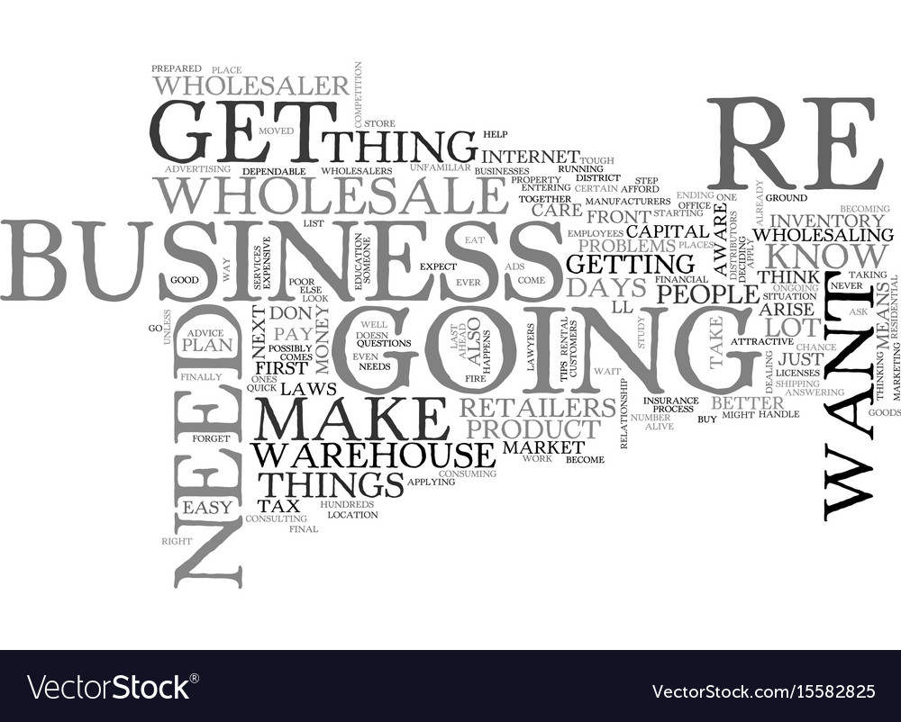 Wholesale how to get into the business text word