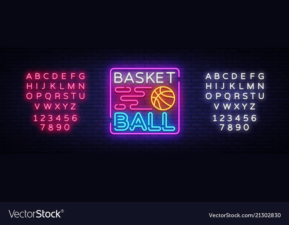 Basketball night neon logo basketball neon
