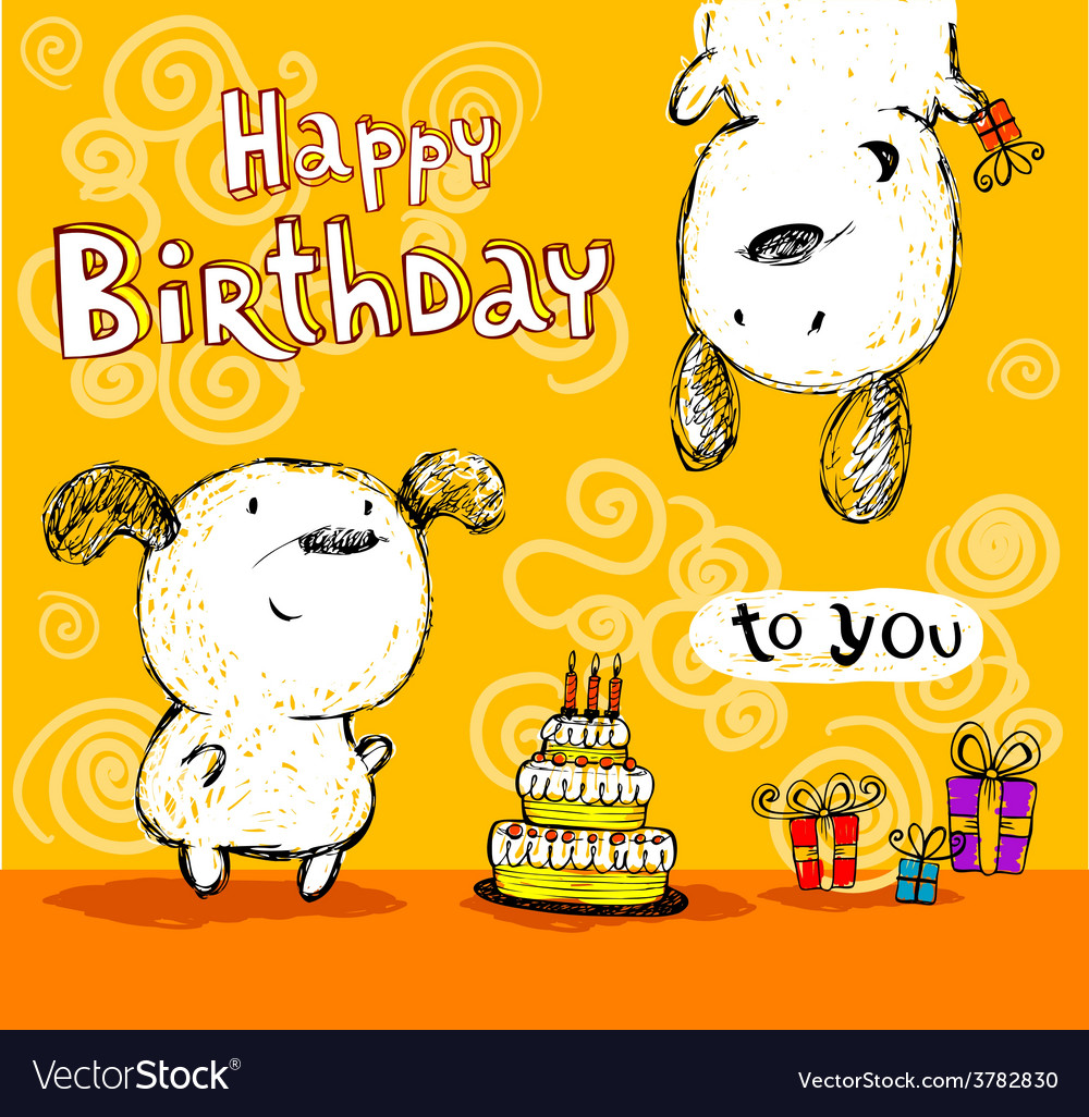 Astounding Birthday Card To Friends Royalty Free Vector Image Funny Birthday Cards Online Fluifree Goldxyz