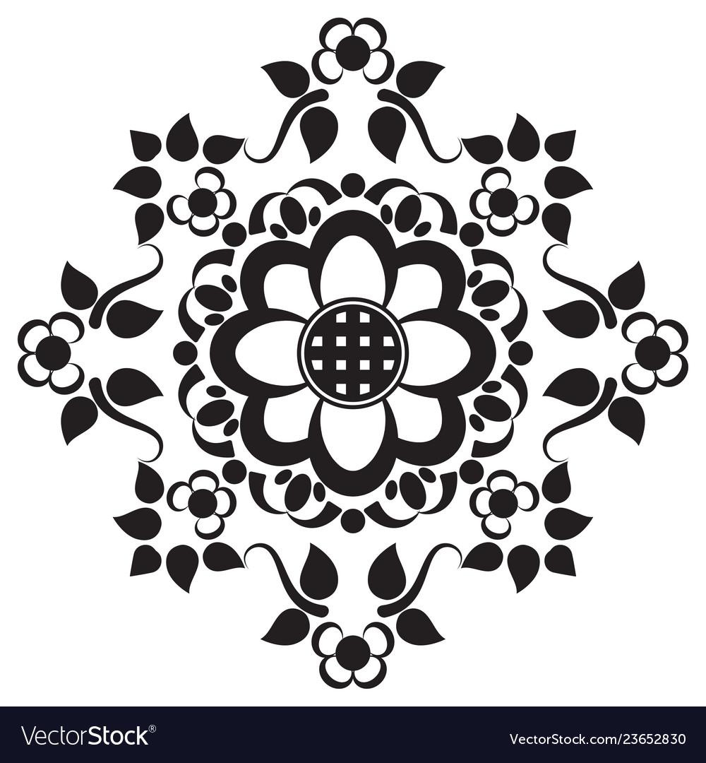 c40fb81047a3a Black Tattoo Mandala Flower On White Background Vector Image