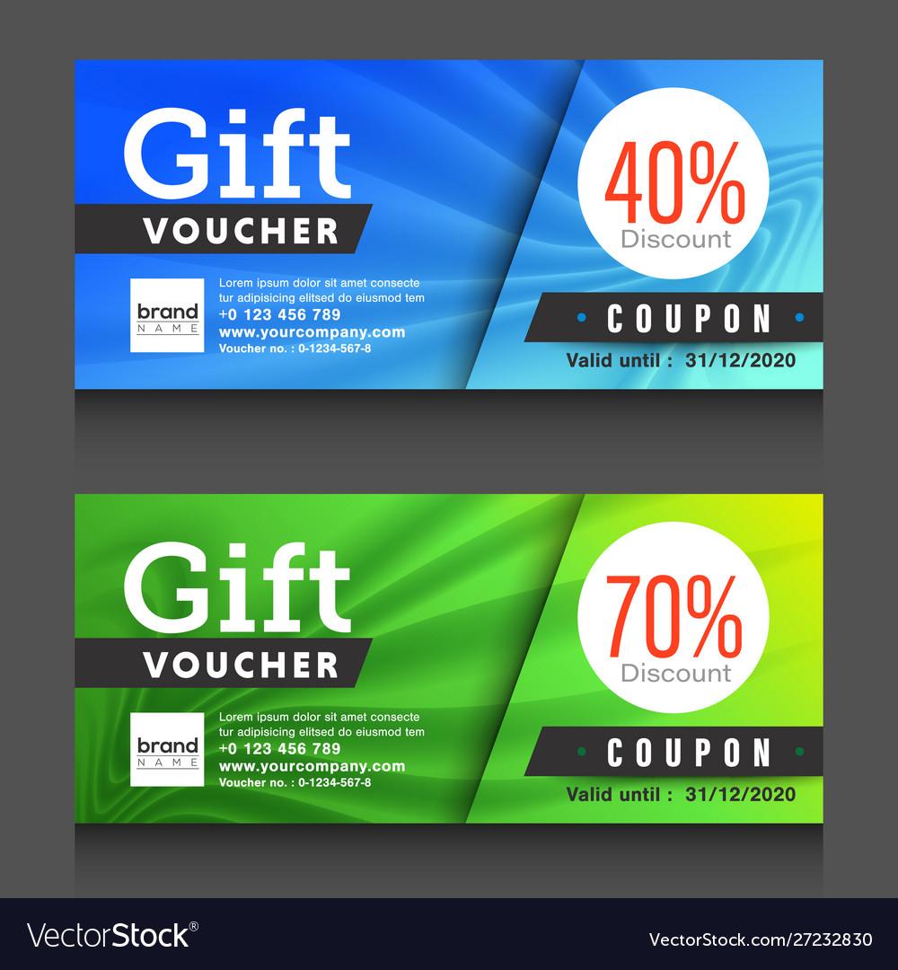 Blue green gift voucher certificate coupon design