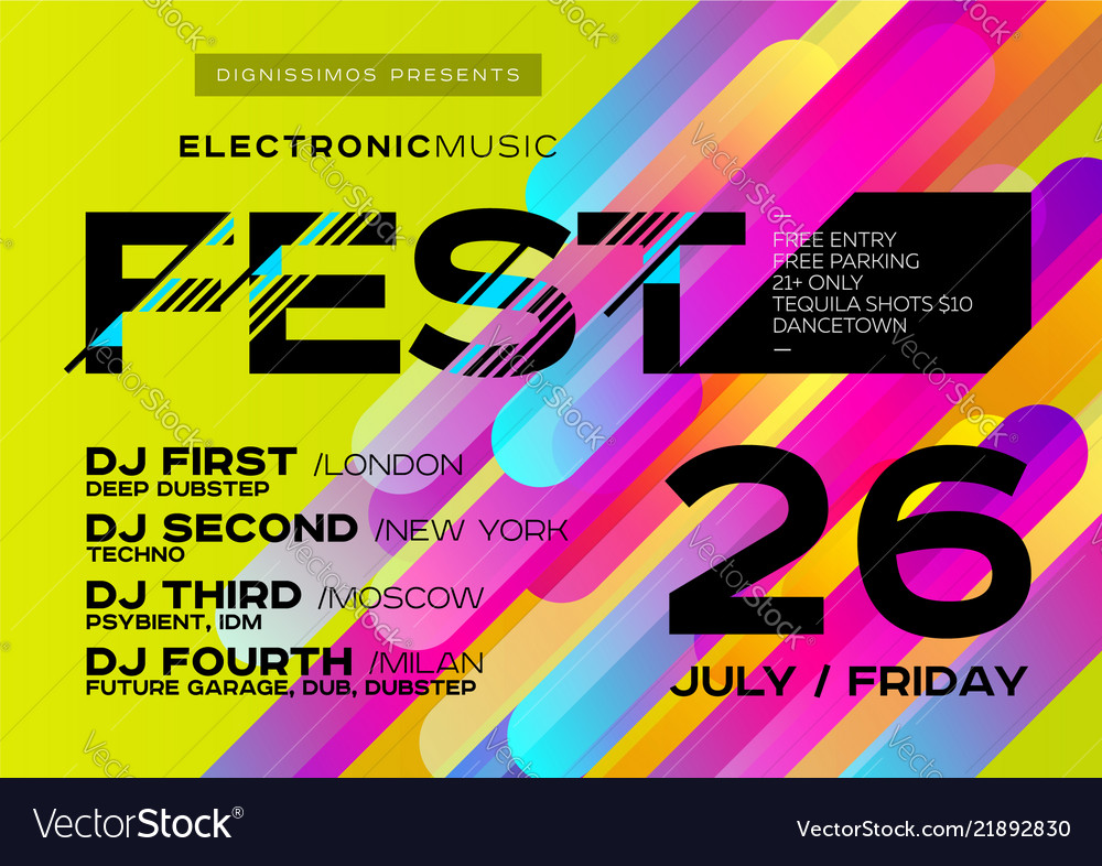 Bright music poster for festival electronic music