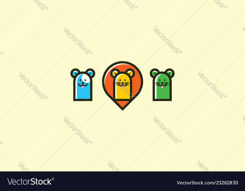 Cute animal logo icon