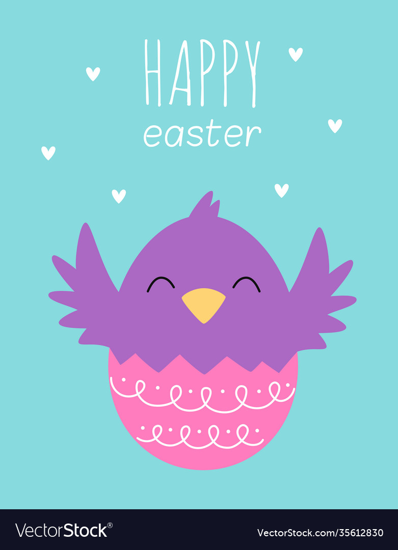 Easter card with cute chicken