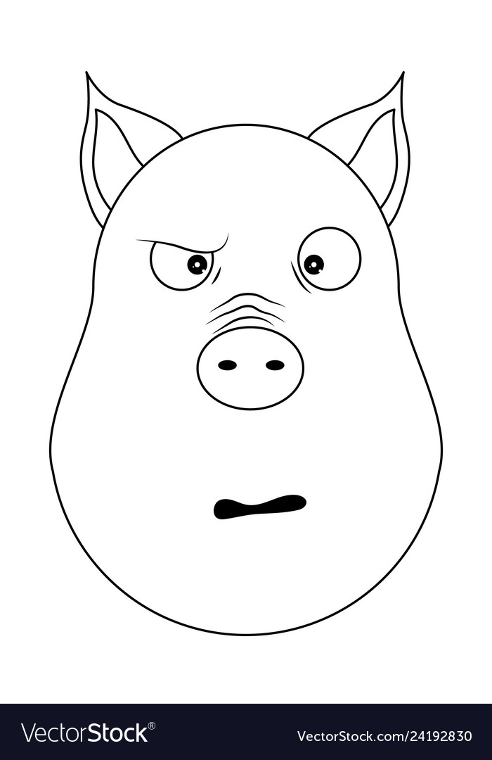 Head of confused pig in outline style kawaii