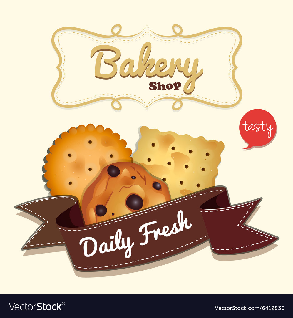logo design with cookies and text royalty free vector image vectorstock