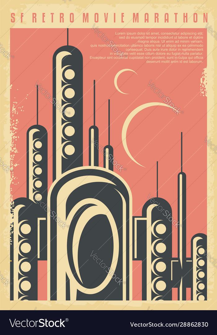Science fiction movies festival retro poster