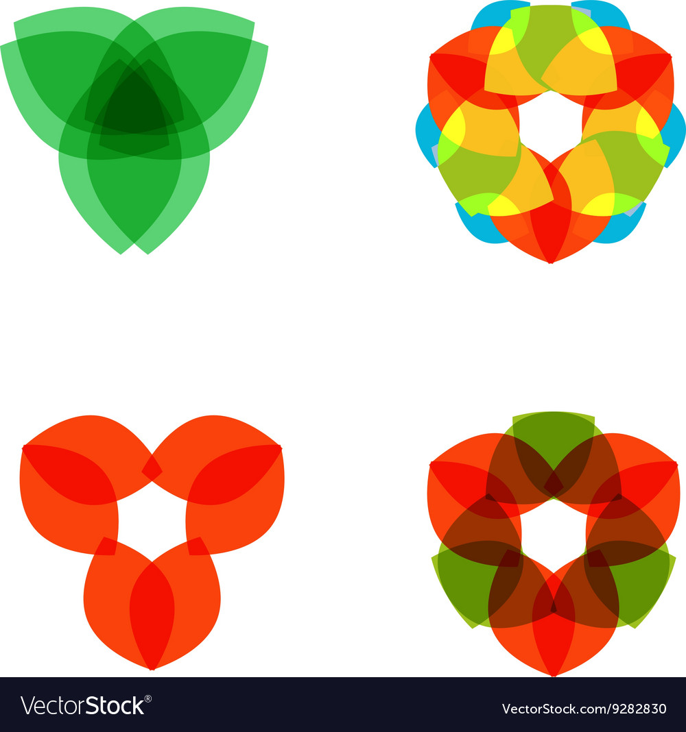 Set of four colored circular patterned elements