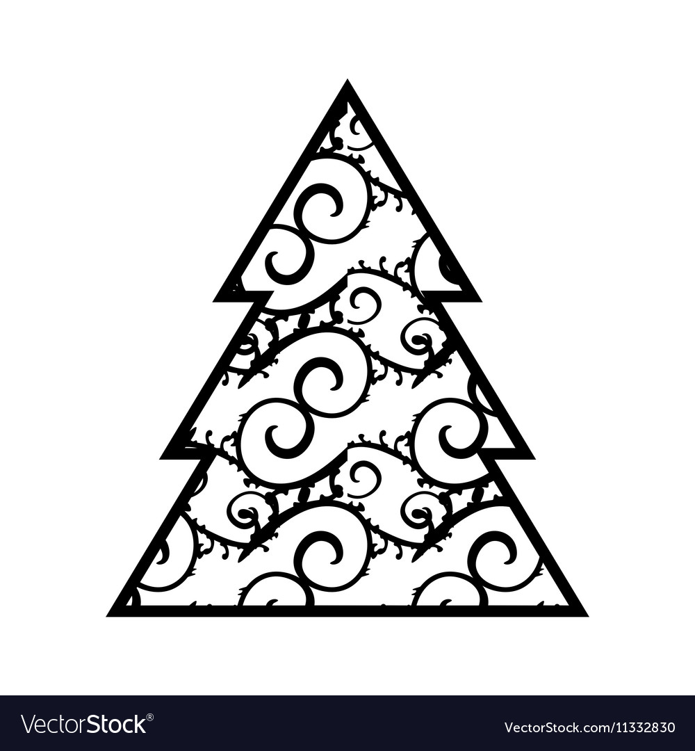 Simple Black Christmas Tree Icon Vector Image On Vectorstock