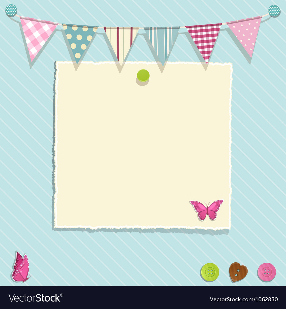 Torn paper and bunting background vector image