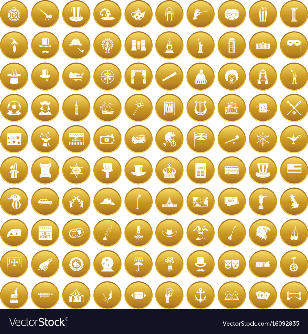 100 top hat icons set gold