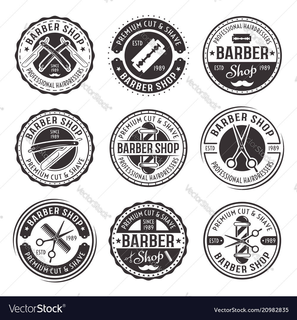 Barber shop set nine vintage badges vector